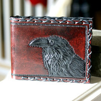 JACkSHOPS Men's Wallet-Mens Leather Wallet-Tooled Ravens