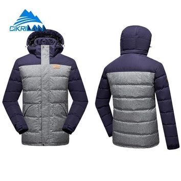 Mens Long Winter Outdoor Windproof Hiking Camping Skiing Snowboarding Snow Down Jacket Men Puffer Duck Down Padded Parka Coat