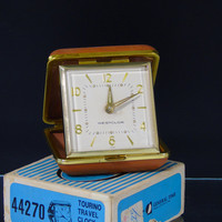 Westclox Japan Wind Up Travel Alarm Clock Tourino 44270 Tan Color Foldable Vintage General Time Box Instructions Manual