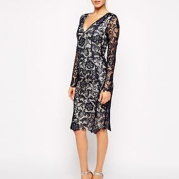Forever Unique Muriel Lace Dress - Navy