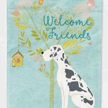 Welcome Friends Harlequin Great Dane Flag Canvas House Size BB7590CHF