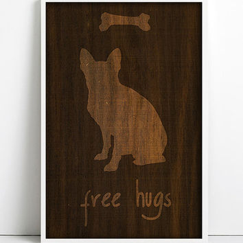 French Bulldog Vintage wood Print Dog Art PET Portrait Dog poster Dog Wood Texture wood wall art Print Retro Modern Frenchie Silhouette Art