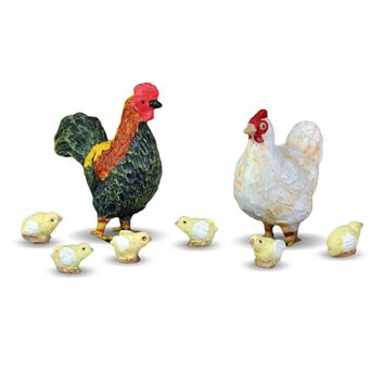 Georgetown Home & Garden Miniature Rooster, Hen and Chicks Garden Decor, Set of 8