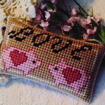 Pig Love Pillow in Needlepoint