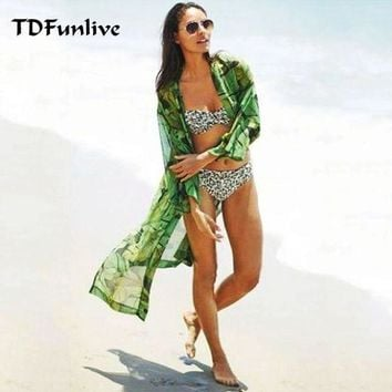 DCCKLW8 TDFunlive Green leaf Print Floral Summer thin Chiffon Beach long Cover Up, Bathing Suit Cover Ups, Kaftan Beach  Beach Wear