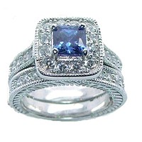 Women's Halo Sapphire Blue Cz Sterling Silver Wedding Ring Set