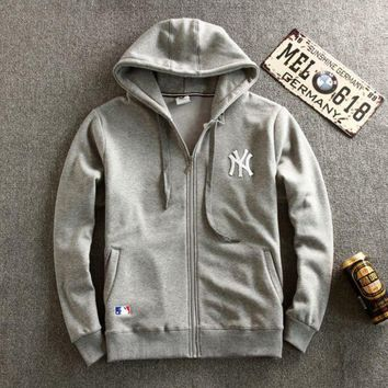 CREYONPR Gray NY Embroidered Men's Zipper Long Sleeve Zipper Sweater Cardigan Coat