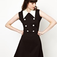 Pop Boutique Sandy Shift Dress with Contrast Collar