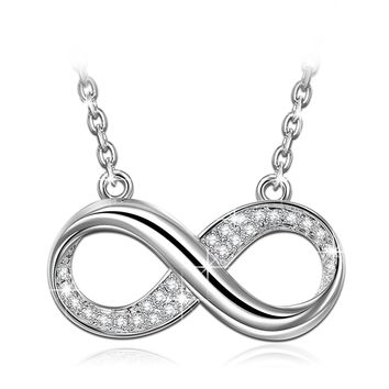 """Infinite Forever"" Infinity Bib Necklace-with Luxury Jewelry Box as Valentines Day Gifts, Made with Swarovski Crystals, Women Pendant Jewelry"