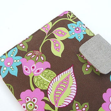 Nook Simple Touch Cover Kindle Fire Cover iPad Mini Cover Kobo Cover Case Modern Floral Flowers Pink Blue Green Brown eReader