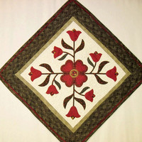 Quilted  table topper  wall hanging table runner applique flowers