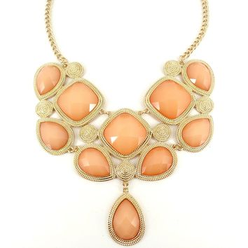 Simple Statement Chunky Peach Orange Coral Design Gold Necklace Earring Set Fashion Jewelry