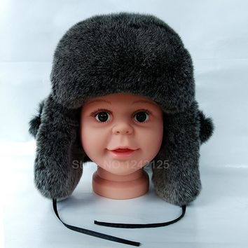 New Russia Winter boy girl kids children fur real rex rabbit hat earmuffs genuine fur ear hat warm earflaps Bomber Hats caps