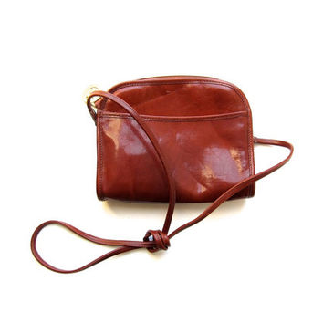 Brown Leather BRAHMIN Purse Small Cross Body Purse Preppy Cognac Brown 90s Shoulder Bag Vintage Minimal Womens Purse
