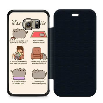 Pusheen Cat Eat Etiquette Leather Wallet Flip Case Samsung Galaxy S6 Edge