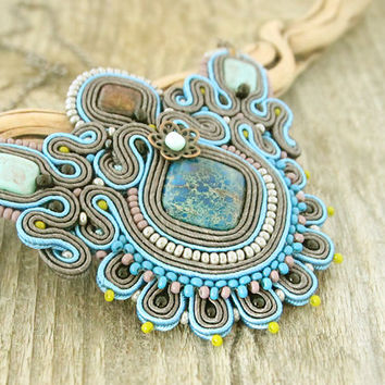 Blue soutache necklace, grey beadedd necklace, blue embroidered necklace, blue necklace, soutache accessory, gift for her, soutache jewelry