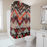 African Style Abstract Design Shower Curtain