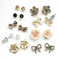 SO Gold Tone Simulated Crystal Textured Stud, Bow and Flower Stud Earring Set