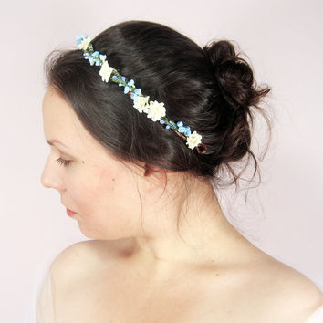 Bridal flower crown, Rustic wedding hair accessories, Floral headband, Ivory headpiece - JENNY
