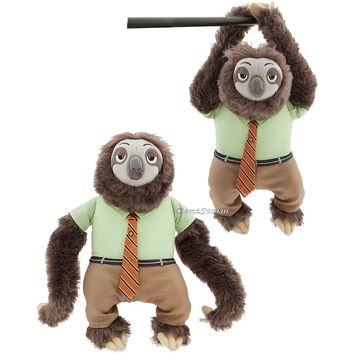 "Licensed cool Zootopia Flash the Sloth Plush Stuffed Toy Doll 14"" Disney Store  SHIPPING"