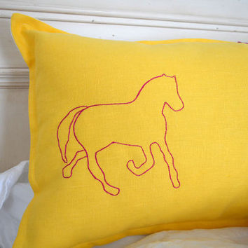Linen Throw Pillow Cover in Stallion- horses equestrian yellow pink magenta embroidered custom kentucky derby racing stripes