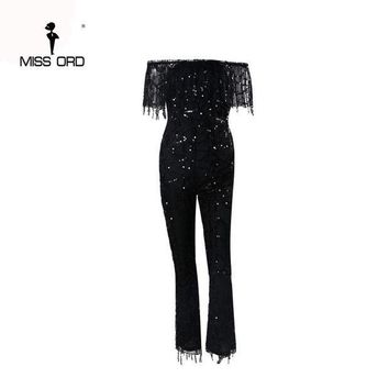 PEAPGC3 Free Shipping Missord 2017 Sexy Word shoulder sequin jumpsuit FT4380