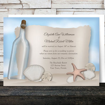 Message from a Bottle Beach Reception Only Invitations - Post Wedding Reception - Seashells Sand Blue Sky - Printed Invitations