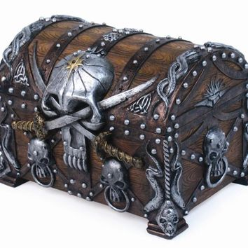 Skull and Swords Pirate's Chest Jewelry/Trinket Box Figurine 5 Inches L