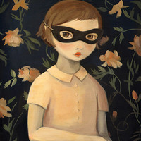 Masked Evaline with Floral Wallpaper Print 8x10