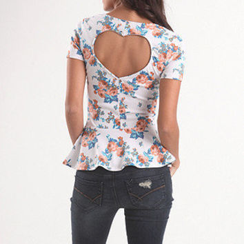 Heart Back Floral Peplum Top