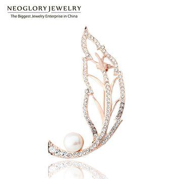 Neoglory Rose Gold Color Designer Rhinestone Simulated Pearl Brooches for Wedding Invitations Costume Jewelry Hot SQC