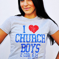 JCLU Forever Christian t-shirts — 021-HEATHER- I Love Church Boys-Christian T-Shirt