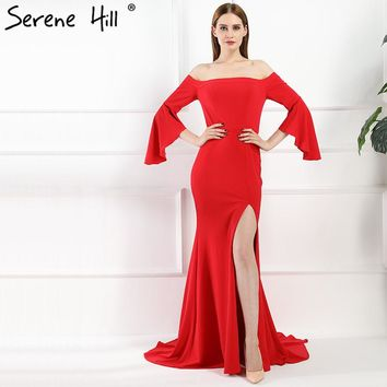 Red Sexy Boat Neck Mermiad Prom Dresses Simple Fashion Elegant Chiffon Evening Gowns