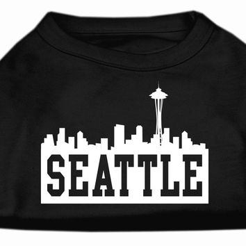 Seattle Skyline Screen Print Shirt Black Med (12)