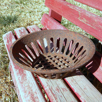 Iron basket  strainer for water well vintage farm industrial basket primitive decor