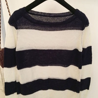 White Blue Striped Sheer & Soft Sweater