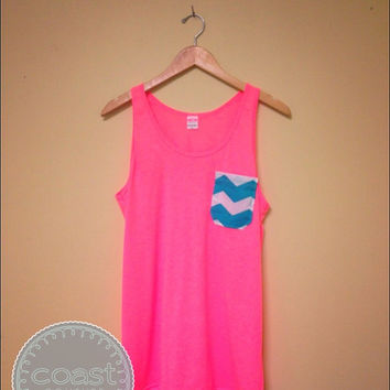 Neon Pink and Chevron Pocket tank