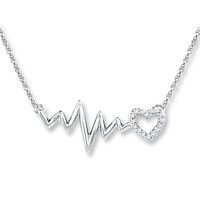 Heartbeat Necklace 1/20 ct tw Diamonds Sterling Silver