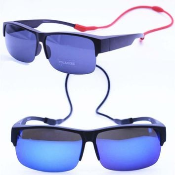 Myopia 033 UV400 polarized anti-slip outdoor half-rim fit over handy neck hanging fishing sunglasses with hanging silicone band