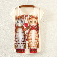 White Short Sleeve Two Cats Print T-Shirt
