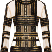 Balmain - Embellished silk and tulle top