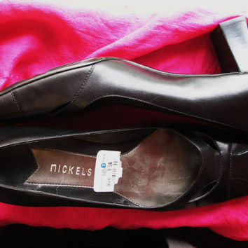 Amaizing Vintage Shoes NICKELS Black Leather Medium Heels Women Loafers Size 9.5 B/41 Made in Brazil