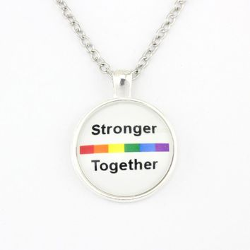 Stronger Together Rainbow Pride Flag Gay More Love Wins Prejudice 25mm Glass Cabochon Pendants Necklaces Women Men Girls Jewelry