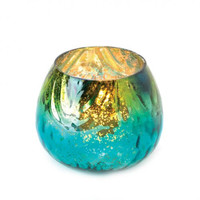 Peacock Glass Tealight Candle Holder