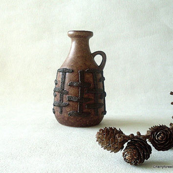 Vintage pitcher vase with lava decor by Strehla VEB, Mid Century Modern East Germany