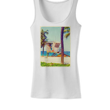Lifeguard Station Watercolor Womens Tank Top