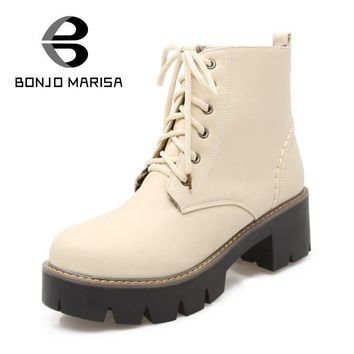 BONJOMARISA Retro Lace Up Add Fur Riding Boots Sexy Solid Ladies Girls Casual Shoes Pl