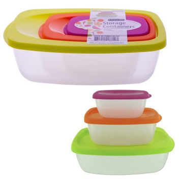 Nesting Rectangular Storage Container Set ( Case of 4 )