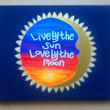 Hand Painted Live by the Sun Love by the Moon Metallic Gold Canvas with Sunset, Wall Decor