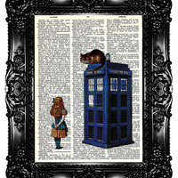 Alice in Wonderland & Tardis Upcycled Book Recycled Art Print Upcycled Dictionary Page Vintage Book Print Police Box Buy 3 get 4th free